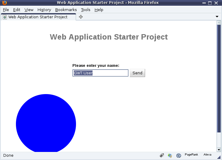 The sample application with an SVG circle